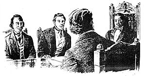 Paulet affair (1843) - King Kamehameha III confers with his Privy Council. At left is William Richards and Gerrit P. Judd sitting across from Robert Crichton Wyllie.