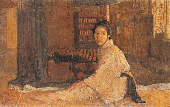Painting of a woman seated behind a net