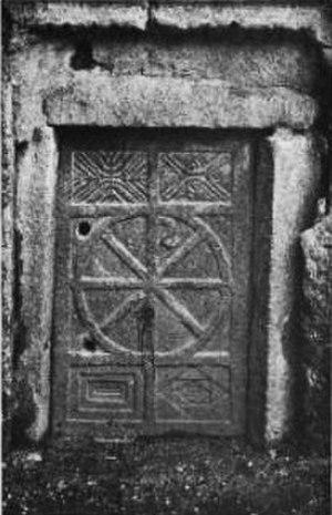 Khan al-Sabil - Basalt door of an ancient structure in Khan al-Sabil, pre-1903