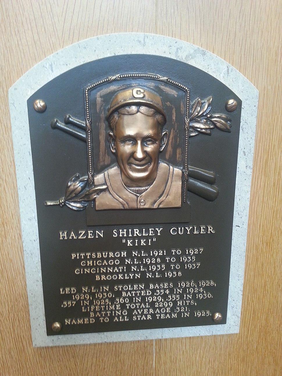 Kiki Cuyler plaque