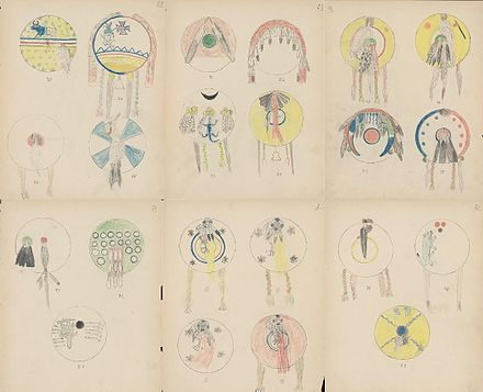 Ledger drawings by Silver Horn featuring a collection of Kiowa shield designs, 1904. Kiowa shield designs collection.jpg