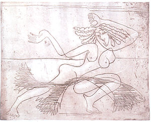 English: Female dancer - etching - 25 x 31,4 c...