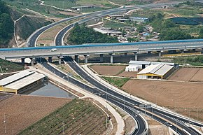 Korea-Goesan-No.3 National highway and Overpassing Jungbu Inland Expressway-01.jpg