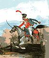 Korporal der Ordonnanz-Husaren des Großherzogtums Sachsen-Weimar um 1840. Sie wurden gleichzeitig als Gendarmerie verwandt. Die Uniformierung war der der preußischen Ziethen-Husaren nachempfunden.jpg