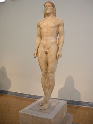 English: The Kroisos Kouros, in Parian marble,...