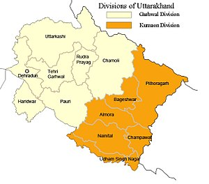 Map of Uttarkhand