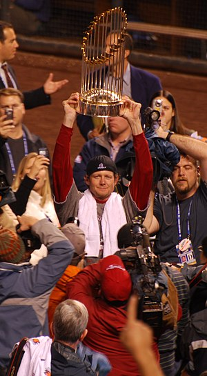 Kyle Snyder - Snyder with the 2007 World Series trophy as a member of the Boston Red Sox