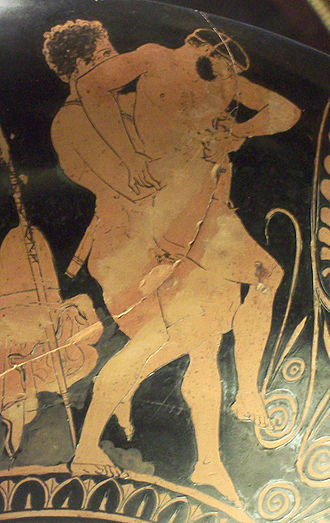 Cercyon of Eleusis - Theseus fights Cercyon (kylix painted by Aison, 5th century BC)