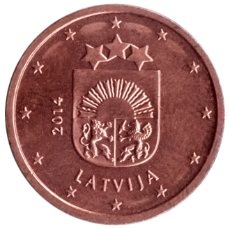 Latvian euro coins - Image: LV 2 centi