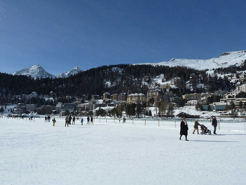 Lake St. Moritz and St. Moritz town in Switzerland.jpg
