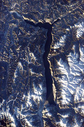 Lake Teletskoye - The lake from space, 2003.