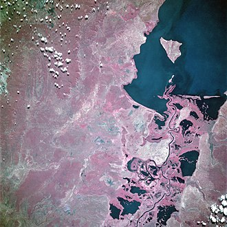 Lake Mweru - Southern end of the lake from space, June 1993 (false color)