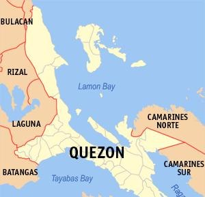 Lamon Bay - Location within Quezon province