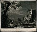 Landscape with men mooring their boats on the quayside in th Wellcome V0047994.jpg