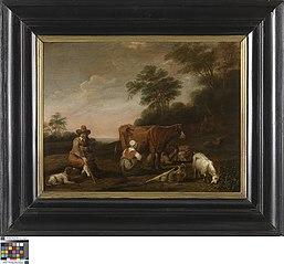 Landschap met herder en melkmeid