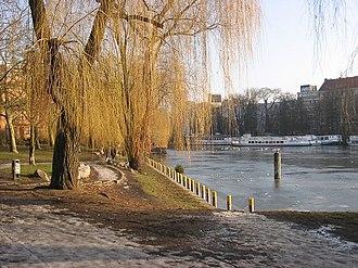 Kreuzberg - Waterside of the Landwehrkanal in Kreuzberg