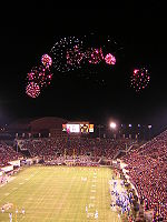 Fireworks over Lane Stadium