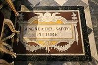 Lapide della sepoltura di andrea del sarto presso i confratelli della compagnia dello scalzo all'altare dell'annunziata.jpg