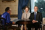 Larry King interviews George W. Bush and Laura Bush.jpg