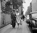 Latabár Kálmán és Psota Irén színművészek. A felvétel az Egyiptomi történet című film forgatása alkalmával készült. Fortepan 93292.jpg