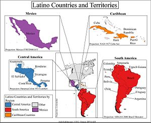 Latino - The Latin American countries from which Latinos descend