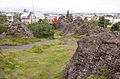 Lava rocks in a park in the centre of Hafnarfjördur.jpg