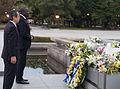 Laying wreath at the Hiroshima memorial with Ambassador Yasuyoshi Komizo (11050385575).jpg