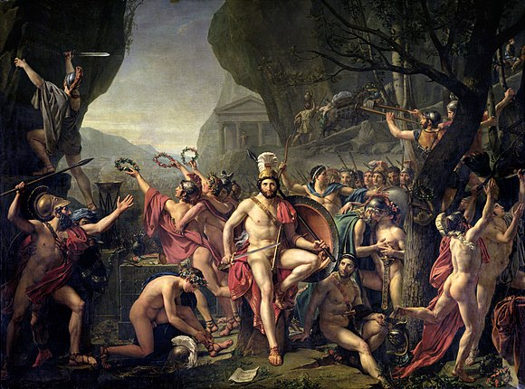 "Leonidas at Thermopylae (1814) by Jacques-Louis David, who chose the subject in the aftermath of the French Revolution as a model of ""civic duty and self-sacrifice"", but also as a contemplation of loss and death, with Leonidas quietly poised and heroically nude Leonidas en las Termopilas, por Jacques-Louis David.jpg"