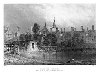 Steel engraving - Trinity College, Cambridge;  View from St John's College Old Bridge, c. 1840. steel engraving was much used for decorative topographical prints such as this, by John Le Keux.