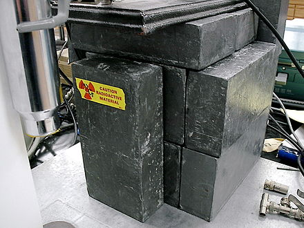 Bricks of lead (alloyed with 4% antimony) are used as radiation shielding. Lead shielding.jpg