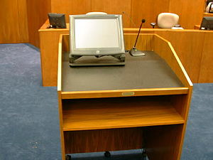 Lectern - A lectern in a US District Courthouse, similar to those found in academic lecture theatres