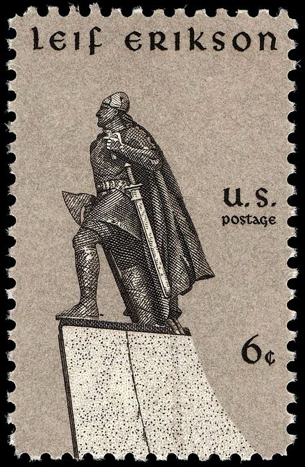 A US stamp commemorating Leif Erikson. Canada, the USA, and Iceland observe Leif Erikson Day on the 9th of October. Leif Erikson 6c 1968 issue.JPG