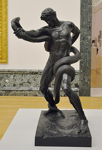 1877 in art - Image: Leighton Athlete Wrestling with a Python 01 Tate Britain
