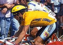 A cyclist wearing a yellow jersey.