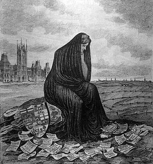 "By-elections to the 3rd Canadian Parliament - Editorial cartoon from Quebec's L'opinion publique in 1874: ""A Country's Remorse"". The accompanying text says, ""Canada mourns her sins; she is right, remorse is healthy; all these electoral court challenges have revealed a series of facts which, in the eyes of the foreigner, demeans and humiliates Canada. Hope for a better future."""