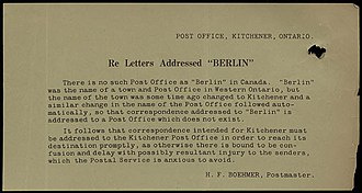 "Berlin to Kitchener name change - Image: Letters Addressed ""Berlin"""
