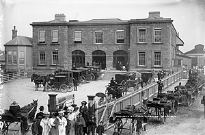Irish International Exhibition - People waiting to board a train at Limerick Station to the Exhibition