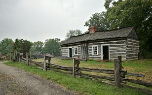 Lincoln Log Cabin State Historic Site - The reconstructed Lincoln family cabin