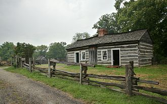 "Sarah Bush Lincoln - The reconstructed ""Lincoln Log Cabin"" was the home of Thomas Lincoln and Sarah Bush Johnston Lincoln in Illinois."