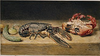 Lobster - Lobster, Crab, and a Cucumber by William Henry Hunt (watercolour, 1826 or 1827)