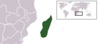 A map showing the location of Madagascar