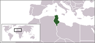 A map showing the location of Tunisia