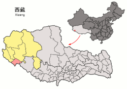 Location of Burang County within Tibet