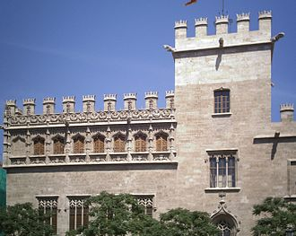 The Llotja de la Seda, seat of the Consulate of the Sea in Valencia since 1498. Lonja de Valencia1.jpg