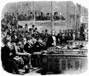 First Palmerston ministry - An illustration of Lord Palmerston addressing the House of Commons. It was published in The Illustrated London News, an illustrated weekly news magazine.