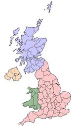 Lord Lieutenancies - home nations coloured