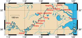 Aliran sungai Panjang dan kota-kota yang terletak di tepi sungainya.