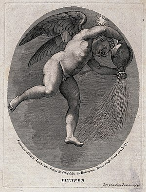 Devil in Christianity - Lucifer (the morning star). Engraving by G.H. Frezza, 1704