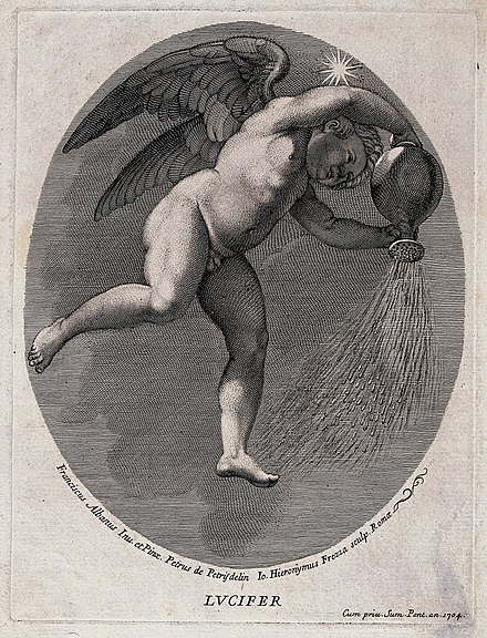 The morning star personified. Engraving by G.H. Frezza, 1704 Lucifer (the morning star). Engraving by G.H. Frezza, 1704, Wellcome V0035916.jpg