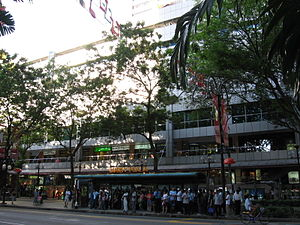 Lucky Plaza - The bus stop along Orchard Road near the main entrance to Lucky Plaza.